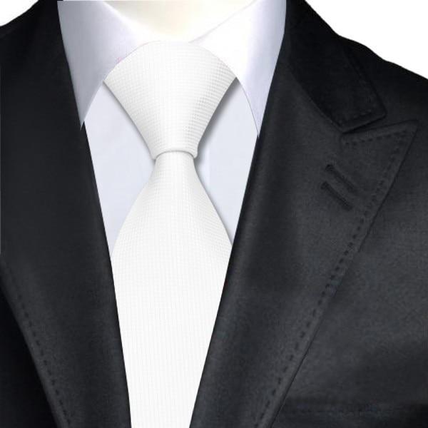 White Plain Solids For Men Classic Ties Jacquard Woven Silk Tie Gravata Formal Business Wedding Party 8.5CM Width A-341