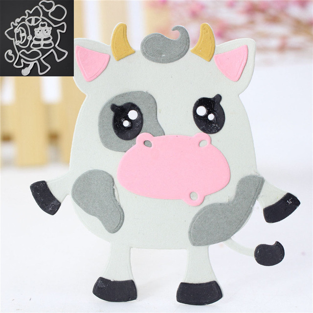 1pc new cute cow template metal cutting dies stencil scrapbooking