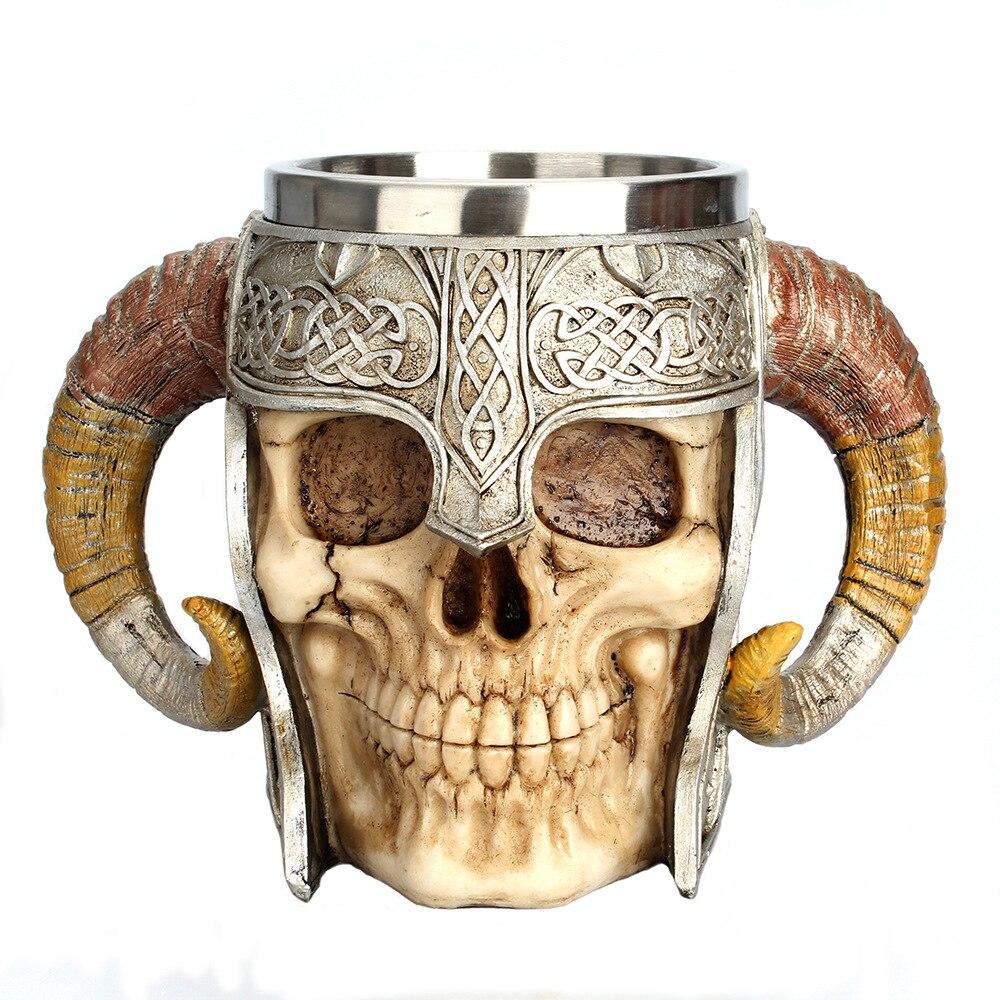 550 ml crâne en acier inoxydable Tasses Viking Corne Guerrier Puissant Tasse Chope Café Tasse Thé verre à bière Halloween Party outils de bar