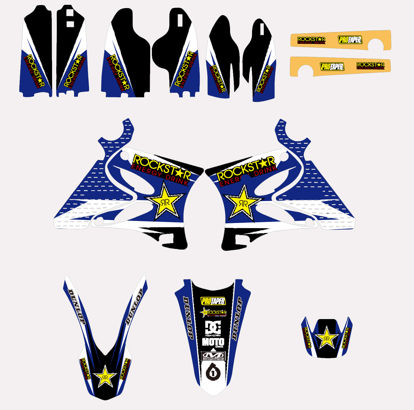 US $40 47 12% OFF|Motorcycle RockStar TEAM GRAPHICS DECALS STICKERS For  Yamaha YZ125 YZ250 YZ 125 250 2002 03 04 05 06 07 08 09 10 11 12 2013  2014-in
