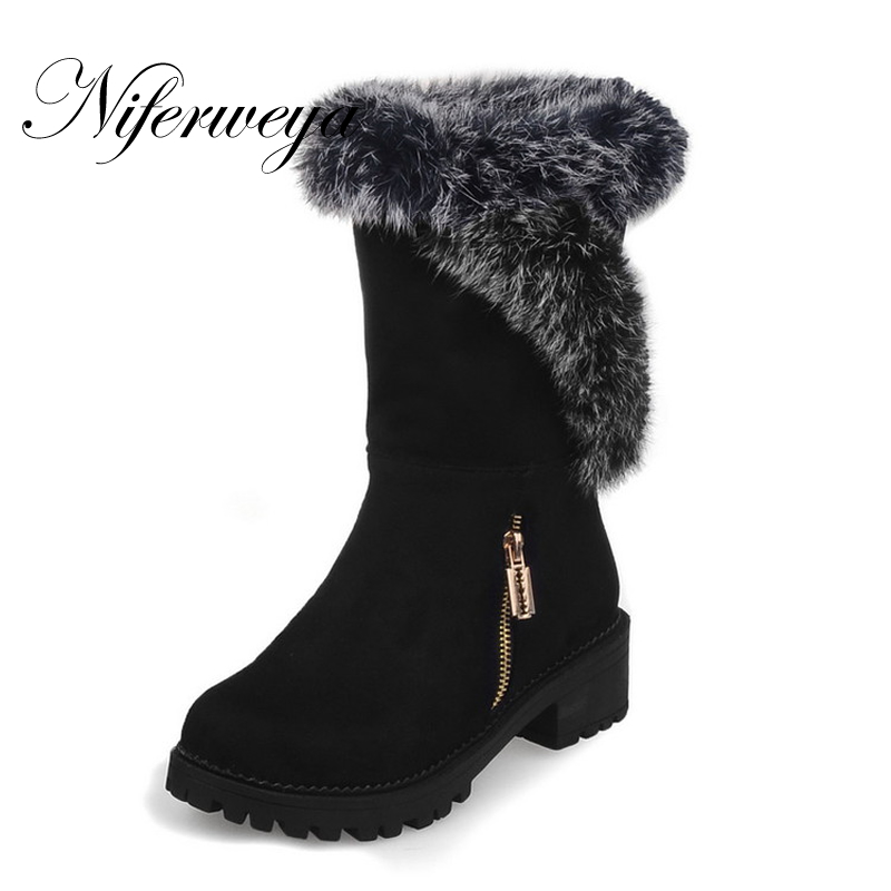 2018 Warm winter women short boots fashion suede mid thick heel shoes big size 30-52 Round Toe ladies Slip-On Mid-Calf boots big size new fashion women boots slip on mid calf flats shoes round toe winter snow boots solid plush soft leather shoes woman