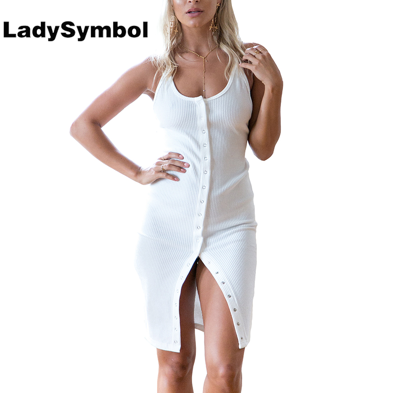 LadySymbol Straps Knitted Summer 2017 Dress Women Slim Casual Bodycon Dress Backless Sexy White Elegant Short Party Dresses Girl женское платье summer dress 2015cute o women dress