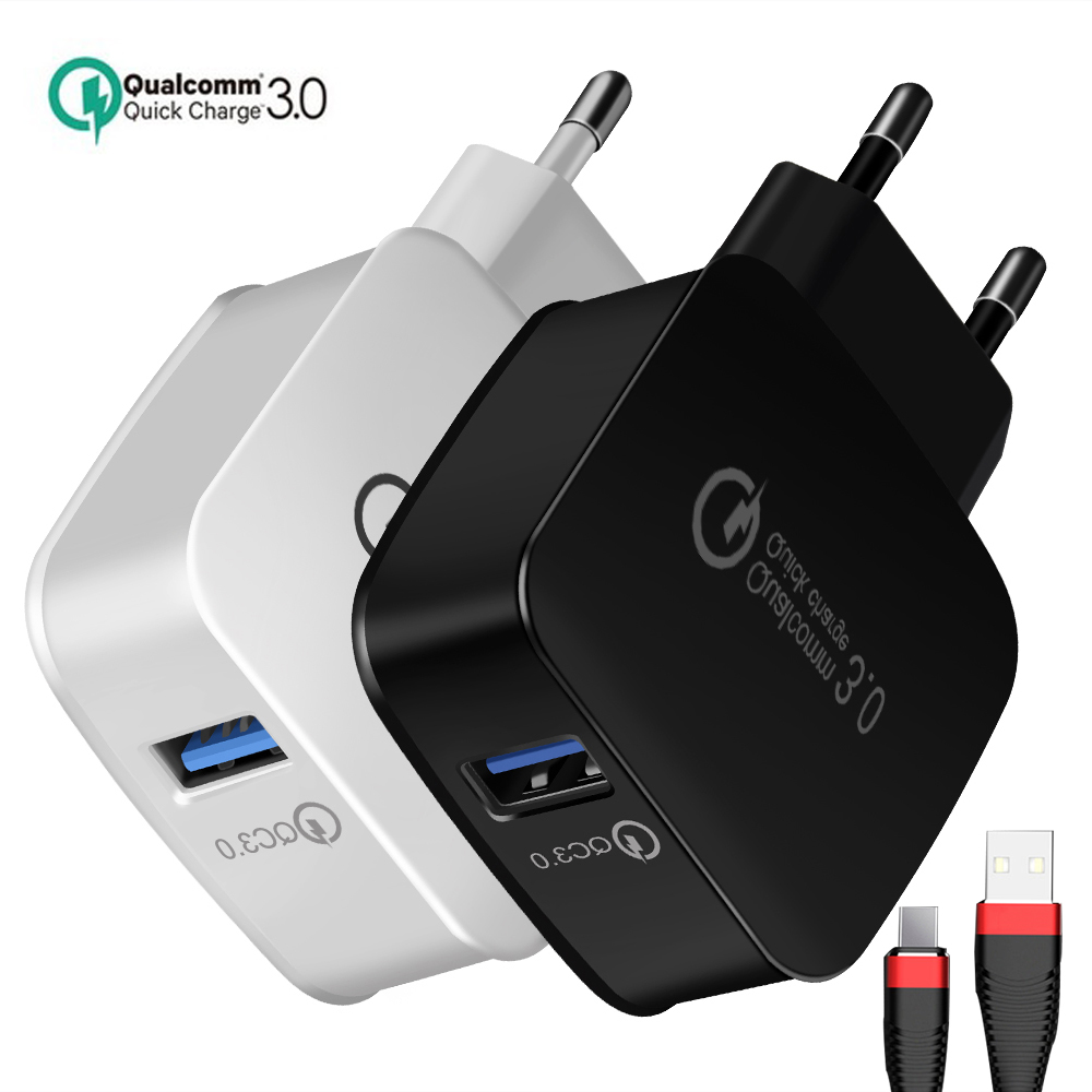 5V 3A QC 3.0 USB Charger EU Mobile Phone Charger Adapter Wall Travel Charger With USB Cable For Xiaomi For Samsung For iPhone