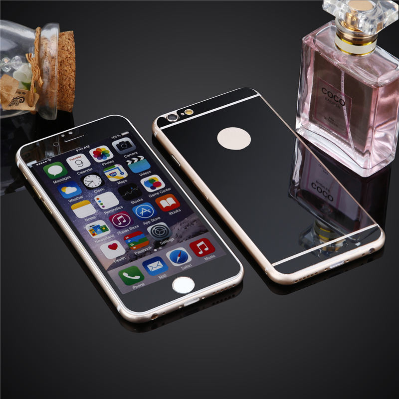 front and back Premium Mirror Electroplating Tempered Glass Screen Protector