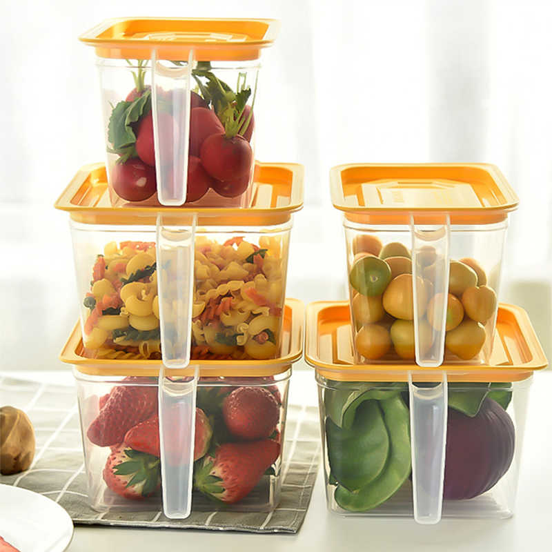 Kitchen Refrigerator Plastic Storage Box With Handle Food Container Transparent Keeping Egg Fish Fruit Fresh Fridge Organizer