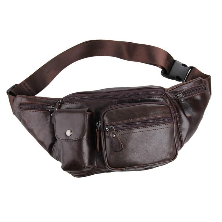 Vintage genuine leather waist packs fanny pack Fashion men small travel bag Pocket sports waist wallet  for men Free shipping (2)