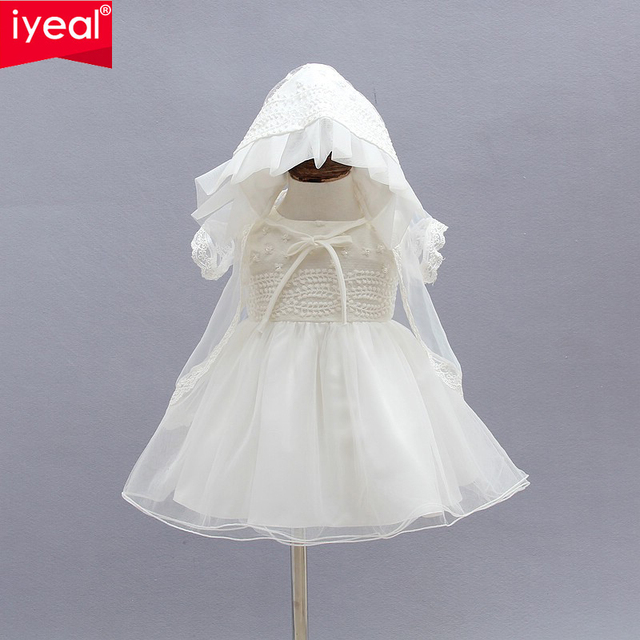Iyeal Newborn Christening Gown Party Wedding Dress With Bonnet And