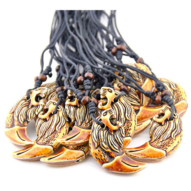 12 pcs New Tibetan Imitation Carved Lion Totem Style Necklace