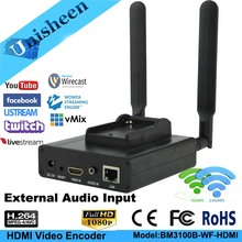 Unisheen H.264 IPTV video Encoder 2.4G 5.8G wifi HDMI vmix wowza youtube facebook ip rtmp live streaming