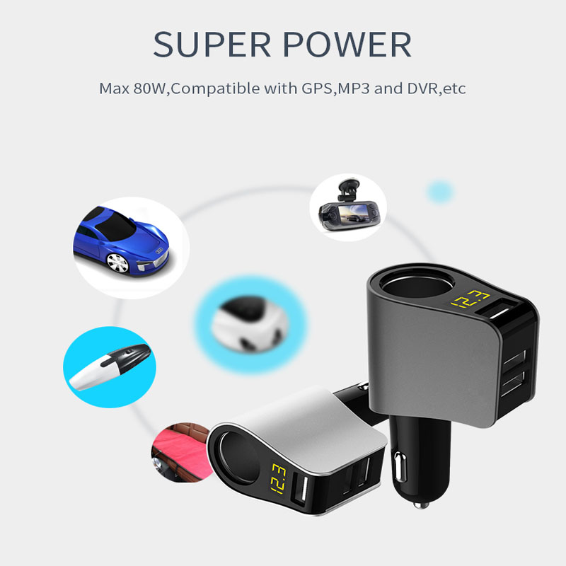 Car Charger LED Display Three <font><b>USB</b></font> <font><b>Port</b></font> Fast Charger Voltage Detection For <font><b>Vw</b></font> polo tiguan <font><b>golf</b></font> 7 4 <font><b>6</b></font> passat b6 b5 b7 touran t5 image