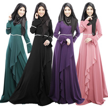 Design Muslim Womens Kaftan Abaya Islamic Dress O-Neck Long Sleeve Empire Waist Chiffon Floor Length Womens Hijab Clothing