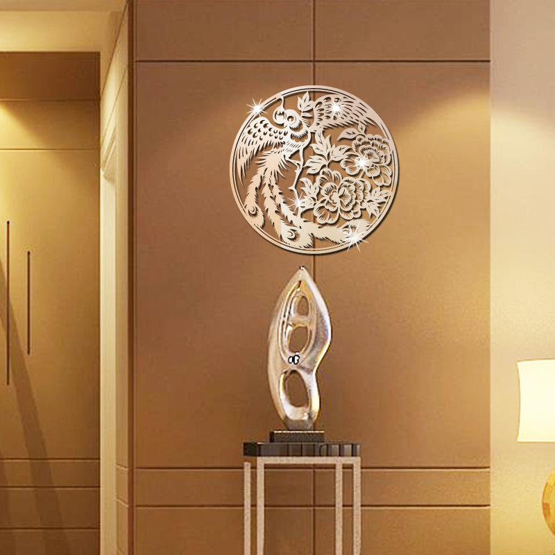 Chinese style acrylic mirror wall stickers Phoenix mirror bedroom living room decoration mirror wall stickers KK0022