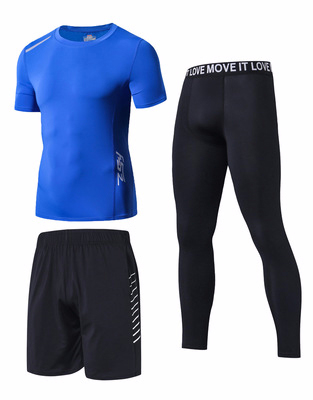 L-3XL lato sport jazda obcisły zestaw mężczyźni szybkie suche krótkie rękawy elastyczne spodnie spodenki anty-pot kolarstwo Running Fitness zestawy