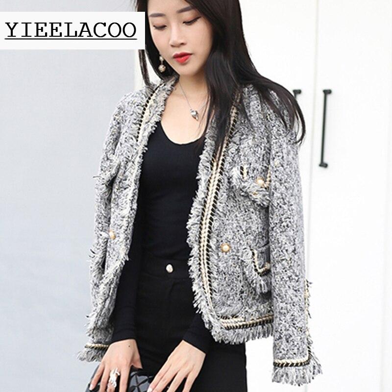 Gray tweed jacket double breasted heavy industry trim high end custom autumn winter women s coat