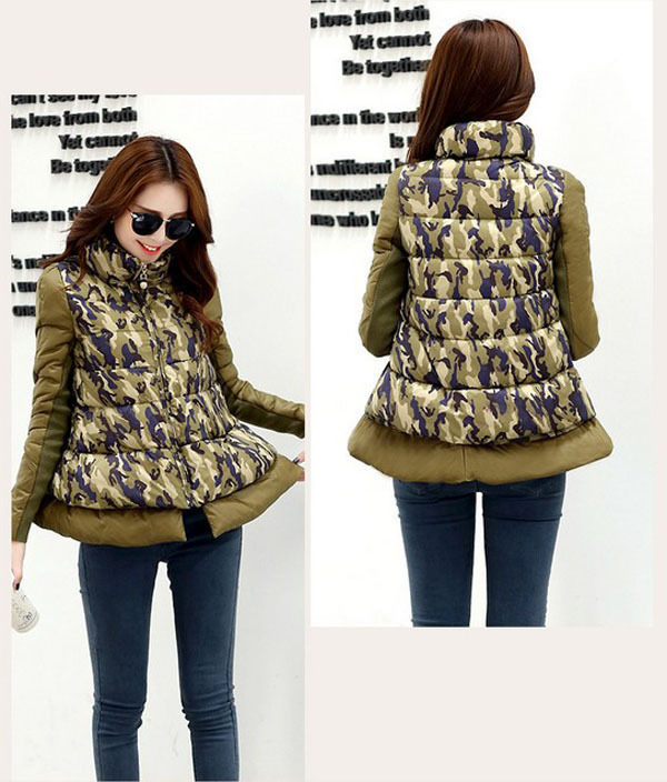Brand new 2014 fashion Cape type camouflage coat stand collar winter women short down casual patchwork full sleeve parkas E276 sweet vintage style purple winter cape for women mandarin collar wool cape