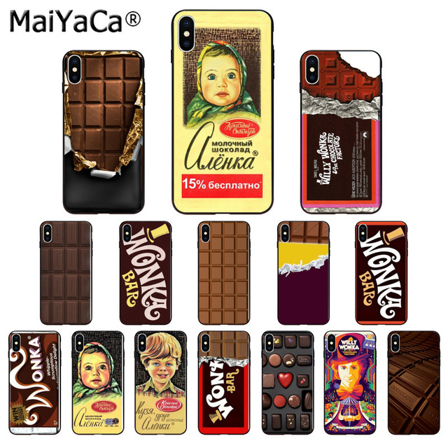 Chocolate Willy Wonka Bar With Golden Black Soft Shell Phone Cover for Apple iPhone 8 7 6 6S Plus X XS MAX 5 5S SE XR