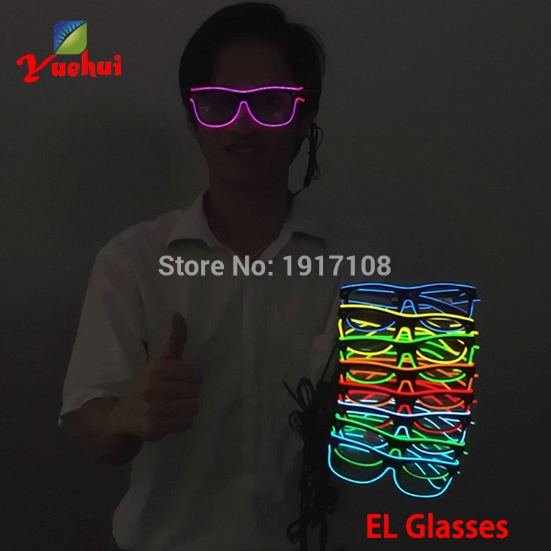 2017 Hot 10 COLOR Glowing EL Glasses Fashion Neon LED Light Up SunGlasses Party Decorative Glasses BY DC-3V Steady On Inverter