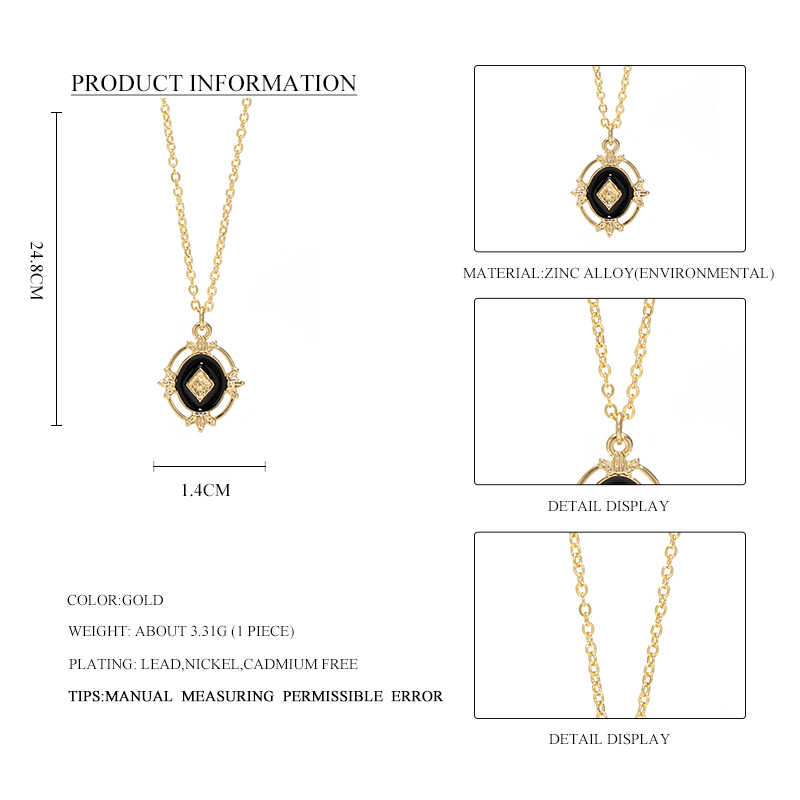 Wild&Free Vintage Geometric Pendant Necklace For Women Baroque Style Black Hollow Chain CollarNecklace Pendients Jewelry
