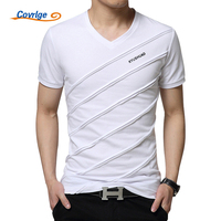 Covrlge 2018 Summer Men Short Sleeve T Shirt Men S V Neck Plus Size 3XL 4XL