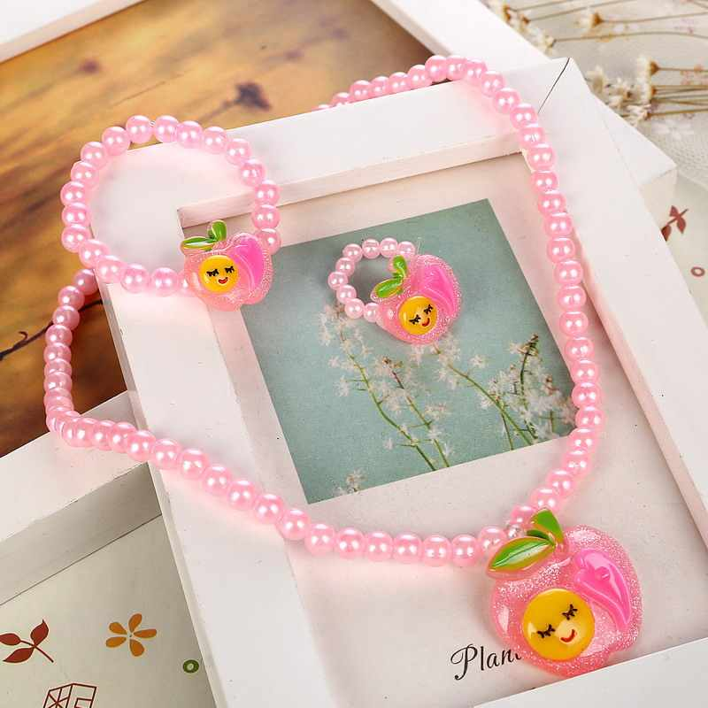 Cute Pink Imitation Pearl Beaded Kid Jewelry Sets Resin Pendant Charm Necklace Bracelet Ring Jewelry Sets 3pcs/lot Free Shipping