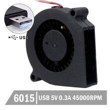 2 шт gdstime 5 в usb вентилятор 60 мм 6015 x 15 dc охлаждения