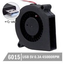 2PCS Gdstime 5v usb fan Blower Fan 60mm 6015 60mmx15mm dc blower cooling