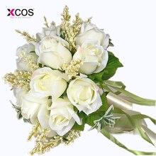 XCOS Bridal Bouquet High Quality Ivory Rose Throw Wedding 18 Flowers Bridesmaid Bouquet