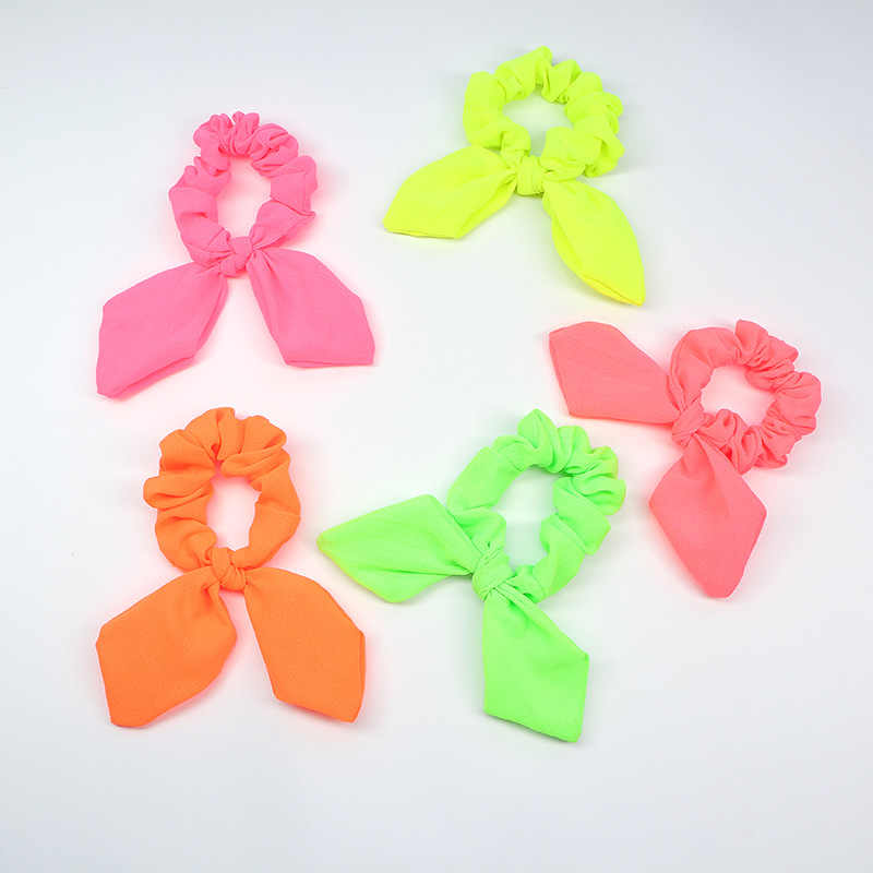 New arrival Fashion women Fluorescent Color bow hair tie Neon color hair scrunchies girl's  candy Ponytail Holder