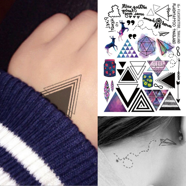 1sheet Multi-style Trendy Temporary Tattoos Geometric Triangle Reindeer Unicorn Arm Flash Tattoo Sticker Color Tatuagem 25models