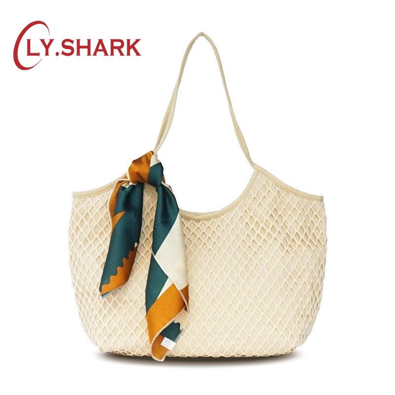 LY. Requin grande toile maille sac de plage pour les femmes sac 2019 blanc femmes sac à main sac à bandoulière femmes sac d'été toile Net Boho mode