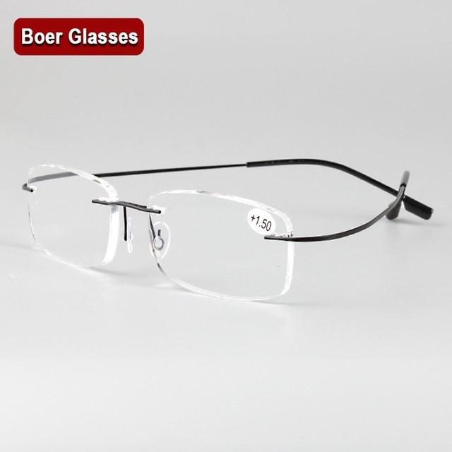 a20cca8cec35e2 Sans monture mémoire titane lunettes flexibles lunettes de Lecture Presbytes  loupes + 1.0 + 1.5 +