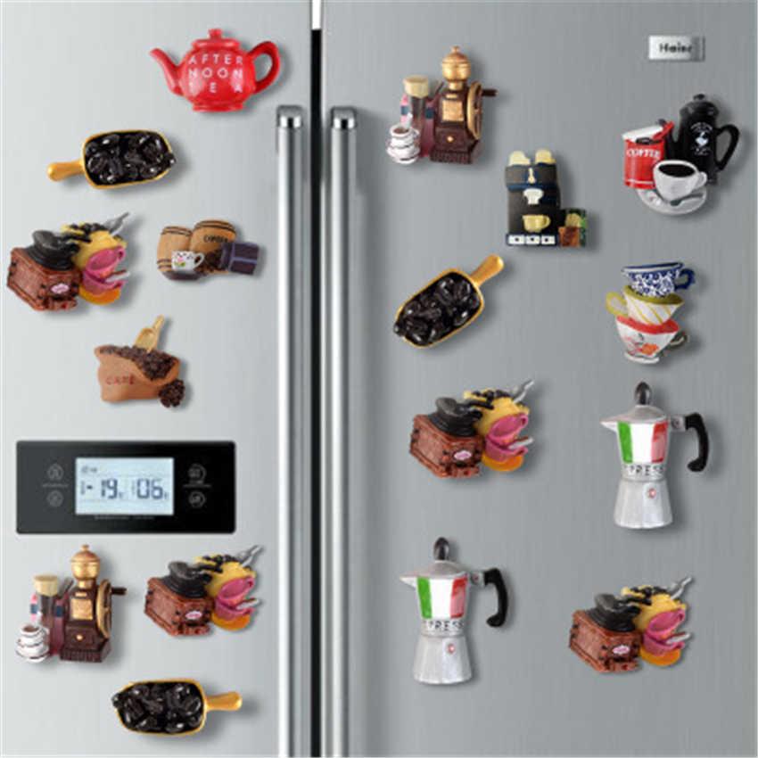 Cafe Set of 3 Handmade Wood Refrigerator Magnets Kitchen Decor Espresso Coffee Magnets 1.5 Fridge Magnet Mocha and Latte Gift Set