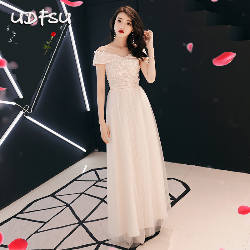 UDFSU Women Vintage Tulle Off Shoulder Evening Dresses Backeless Lace Up Party Gowns Floor Length A-Line Evening Gown