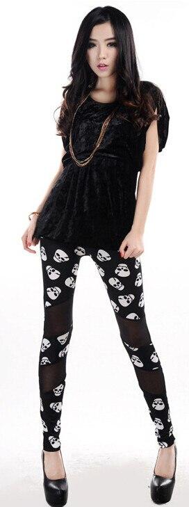 De Patchwork Gratuite Crânes Neuf Épissage Gaze Chaude 10 Soie Squelette Leggings Livraison Pantalon Vente Pcs lot Lait Femmes Tête yw8wtxqUOC