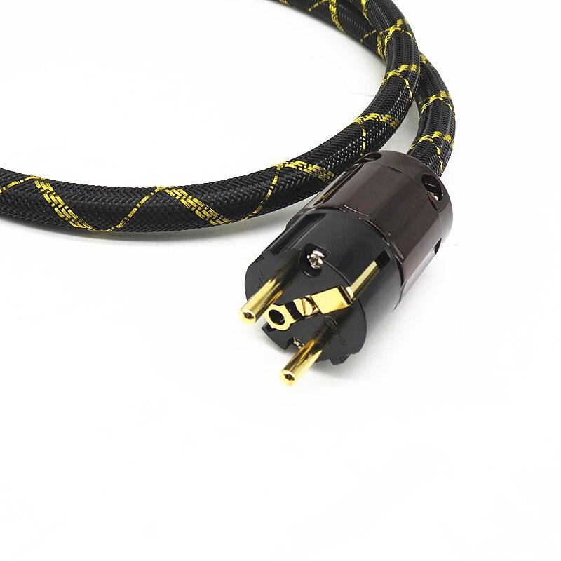 3000W 6N Occ cuivre argenté SCHUKO câble d'alimentation plaqué or EURpower prise câble hifi cordon d'alimentation câble pour DVD CD AMP
