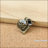 Wholesale 45 pcs Vintage Charms Black birds nest Pendant Antique bronze Fit Bracelets Necklace DIY Metal Jewelry Making