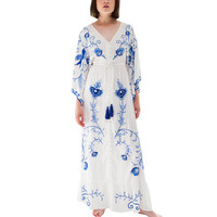 HAMALIEL Runway Bohemia Holiday Dress Spring Women White Cotton Embroidery Floral Tassel Long Dress Retro Maxi V Neck Dresss