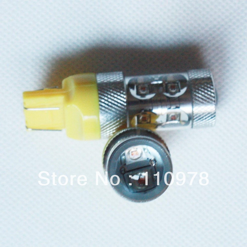 Free Shipping 2 Piece/Lot 50W yellow/amber T20 7443 W21/5W High Power LED Car LED Brake light Stop bulb