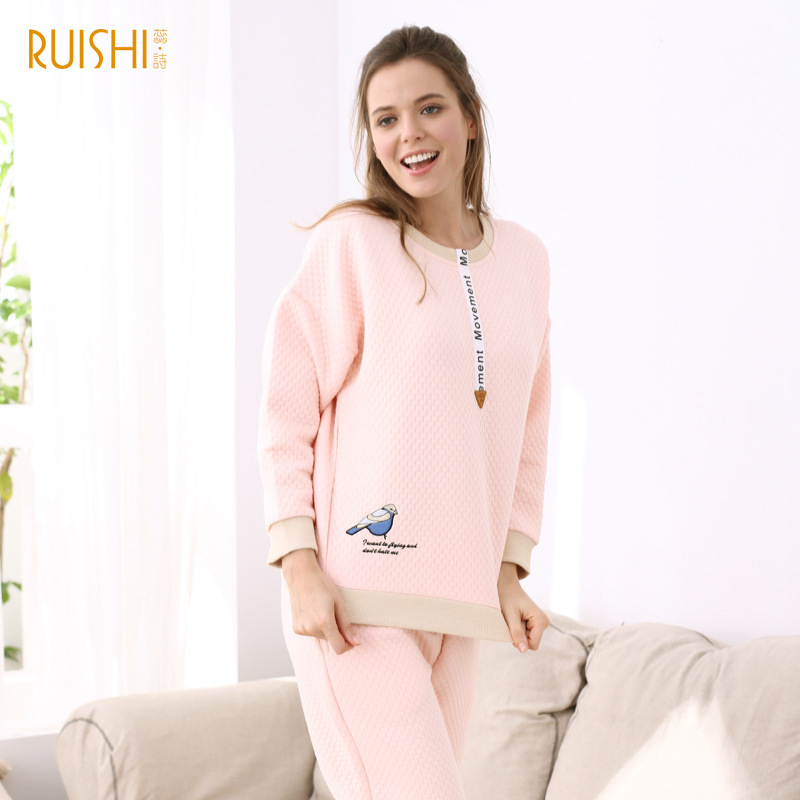 J Q Autumn Winter Pjs Cotton Female Home Clothes Cotton Pajamas Ladies Warm Pajamas Set Leisure