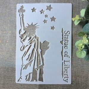 A4 Statue de liberté bricolage stratification pochoirs peinture Scrapbook coloriage gaufrage Album décoratif papier carte modèle
