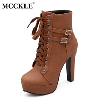 MCCKLE 2017 Spring Summer Women Ankle Boots High Heels Lace Up Leather Double Buckle Platform Short