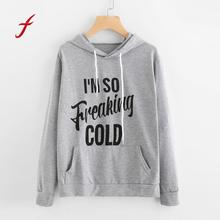 FEITONG Feamle Sweatshirt O-Neck Hoodie Long Sleeve Letter Print Jumper Pullover Tops Autumn Winter High Quality Hoody Shirt