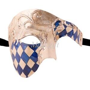 Лидер продаж черные туфли высокого качества красные, синие фиолетового и зеленого цветов, цвета: золотистый, серебристый Венецианская маска Halloween Пластик маскарадные маски - Цвет: blue silver checked