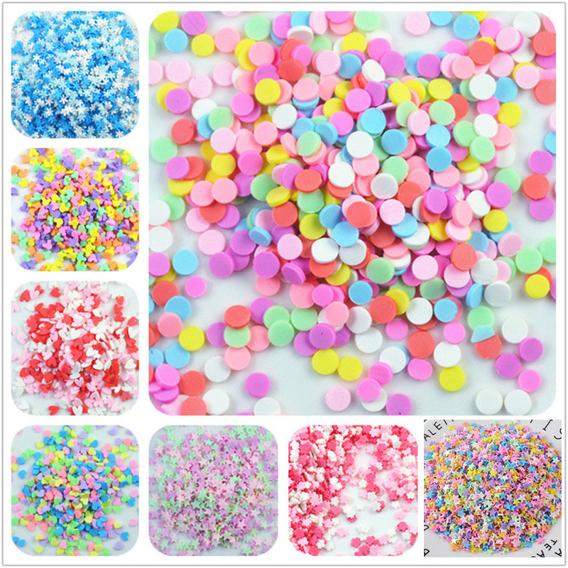100g/bag Slime Clay Fake Candy Sweets Sugar Sprinkle Decorations for Fake Cake Dessert Food Particles Decoration Toys