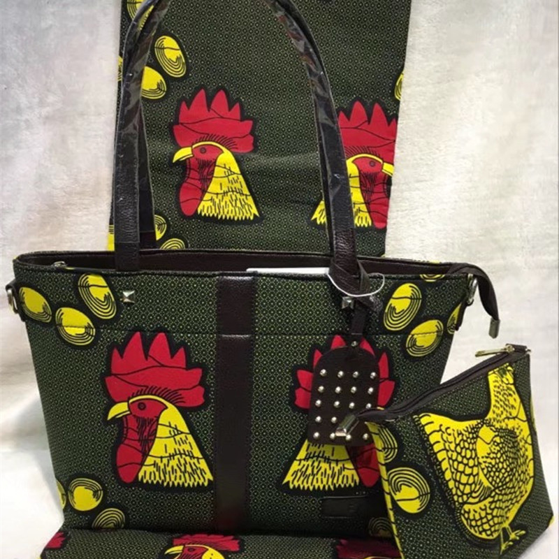 Nigeria Style Ladies Cotton Fabric font b Handbag b font Fshion Printed Rooster Wax Bag And