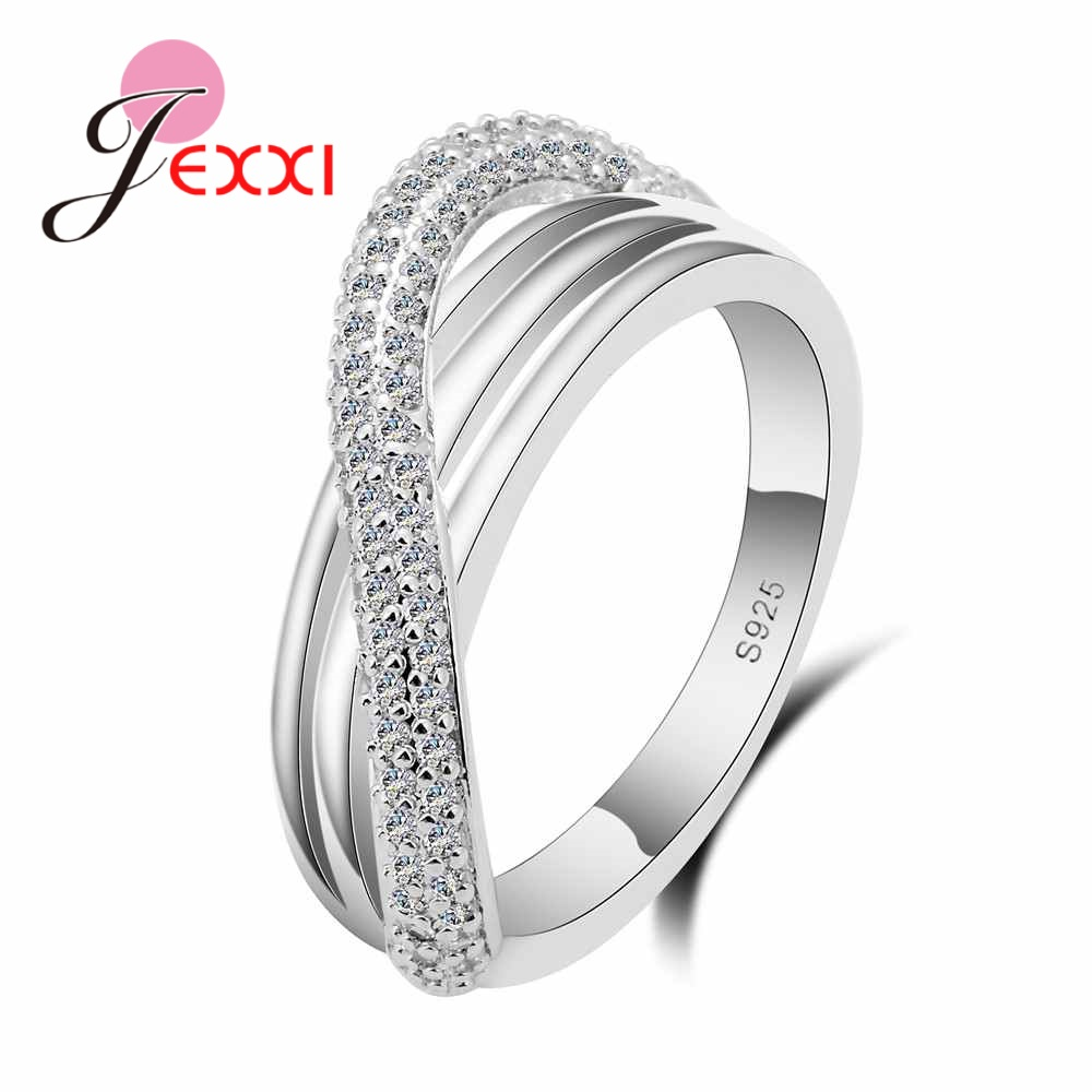 JEXXI Popular 925 Sterling Silver Rings Wedding Jewelry Cross Austrian Crystal Fashion Adjustable Finger Bague Wholesale