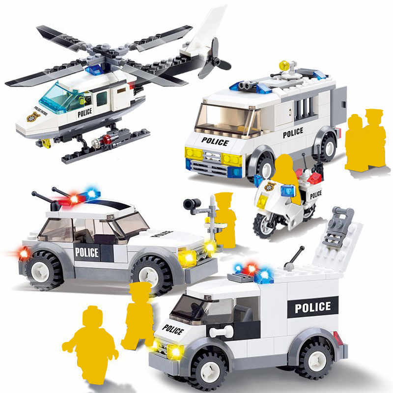 City Mini Police Figure Motorcycle Vehicle Traffic Helicopter Prisoner Car Boat Building Blocks Bricks Toys For Children