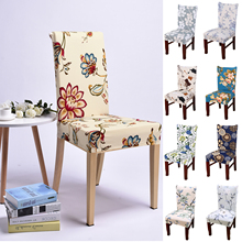 Stretch Chair Cover Dining Set Simple Printed One-piece Short Home Hotel Banquet Table  Decor Spandex D20