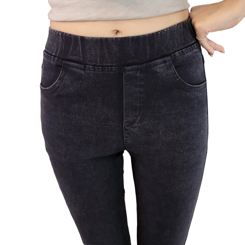Plus Size Women Jeans Leggings Casual Fashion Skinny Slim Washed Jeggings High Elastic Denim Legging Pencil Pants For Women D63