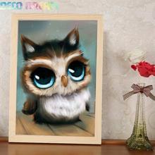 купить Diy Full Resin Round Diamond Painting Rhinestones Embroidery Kit My Big Eyes Cute Owl Cartoon Mosaic Decor As A Good Hobby Gift дешево